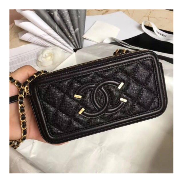 Chanel​ boy​ Navy​ woc​ Double​ Zip​ Shoulder​ Bag​ Black