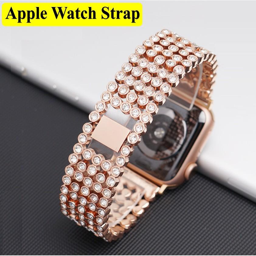 สายนาฬิกา Apple Watch เหล็กกล้าไร้สนิม รูปสี่เหลี่ยมขนมเปียกปูน Apple watch  Size 38มม.40มม 42มม.44มม สายนาฬิกาข้อมือ Stainless steel apple watch 5 Replacement Apple Watch Series6, Series5,Series4 , Series3,  Series 2,  Apple Watch SE Strap