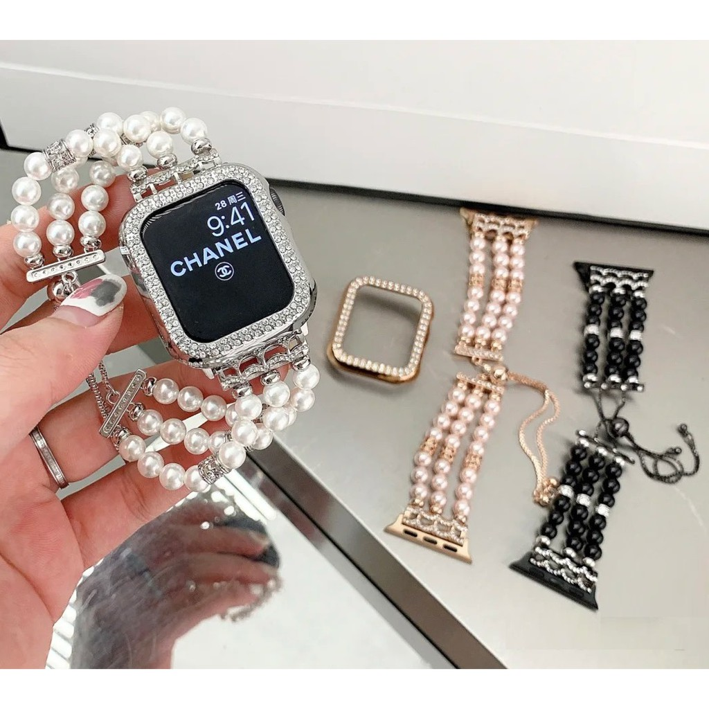 Apple Watch Straps Luxury Handmade Jewellery Pearl Applewatch Series 6 5 4 3 Stainless Steel Straps for apple watch iWatch Series6 ,Series5,Series4 ,Series3, Series2 , Apple Watch SE Watch band