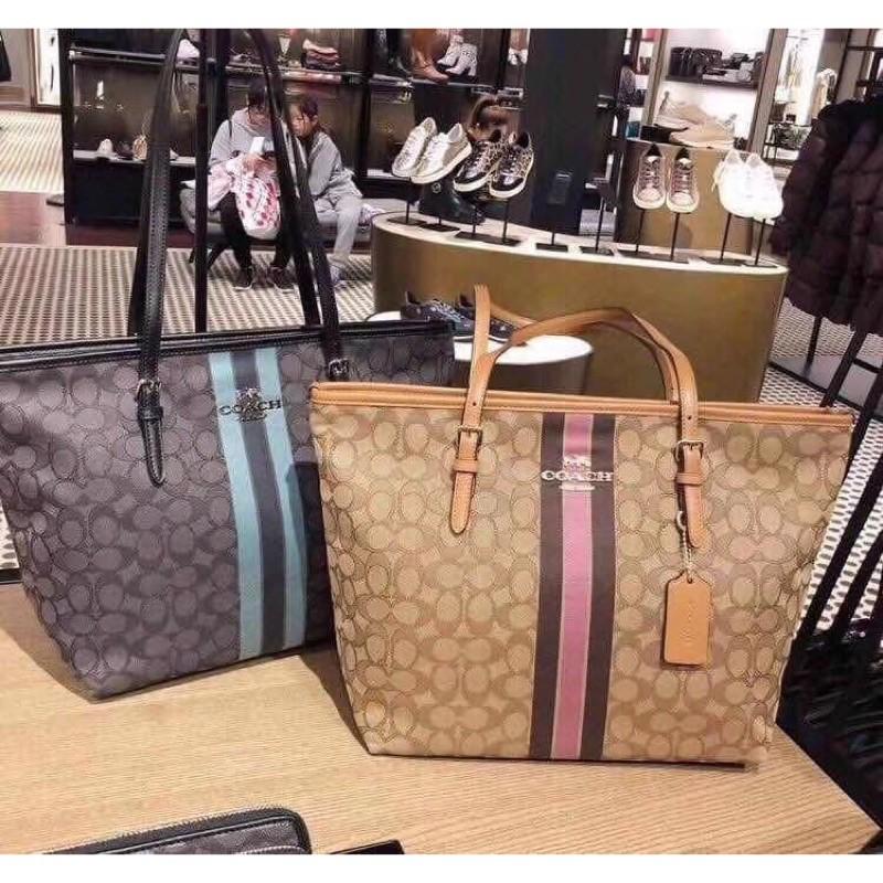 [UA]ซื้ออเมริกา Coach39043 กระเป๋าผ้าแคนวาสแบบดึงไหล่กระเป๋าช้อปปิ้ง