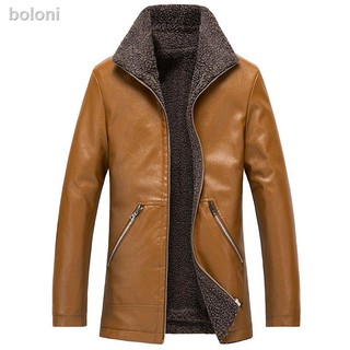 Plus Size Men Solid Winter Warm Stand-Up Collar Jacket Button Down Trench Coat