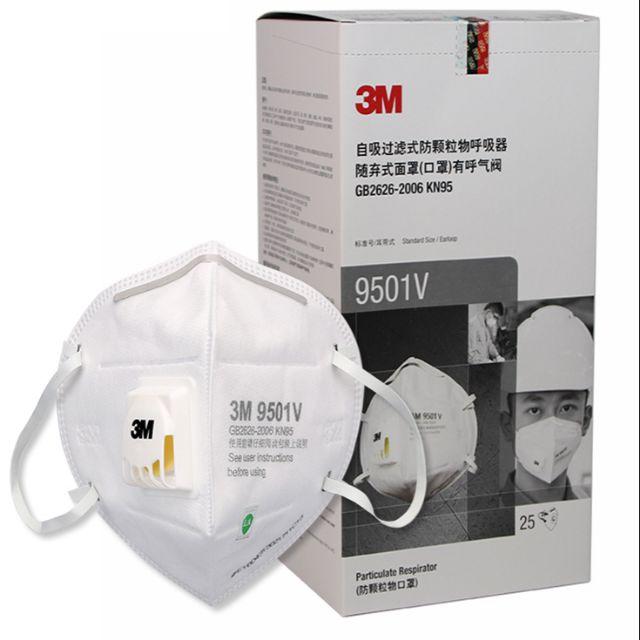 3M หน้ากาก N95 รุ่น 9001V mask n95 กรอง  PM 2.5 รุ่นมีวาล์ว