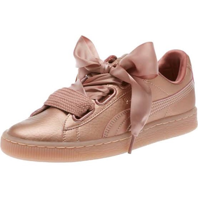 timeless design 18aff 4b117 Used like new!! Puma basket heart copper metallic pink
