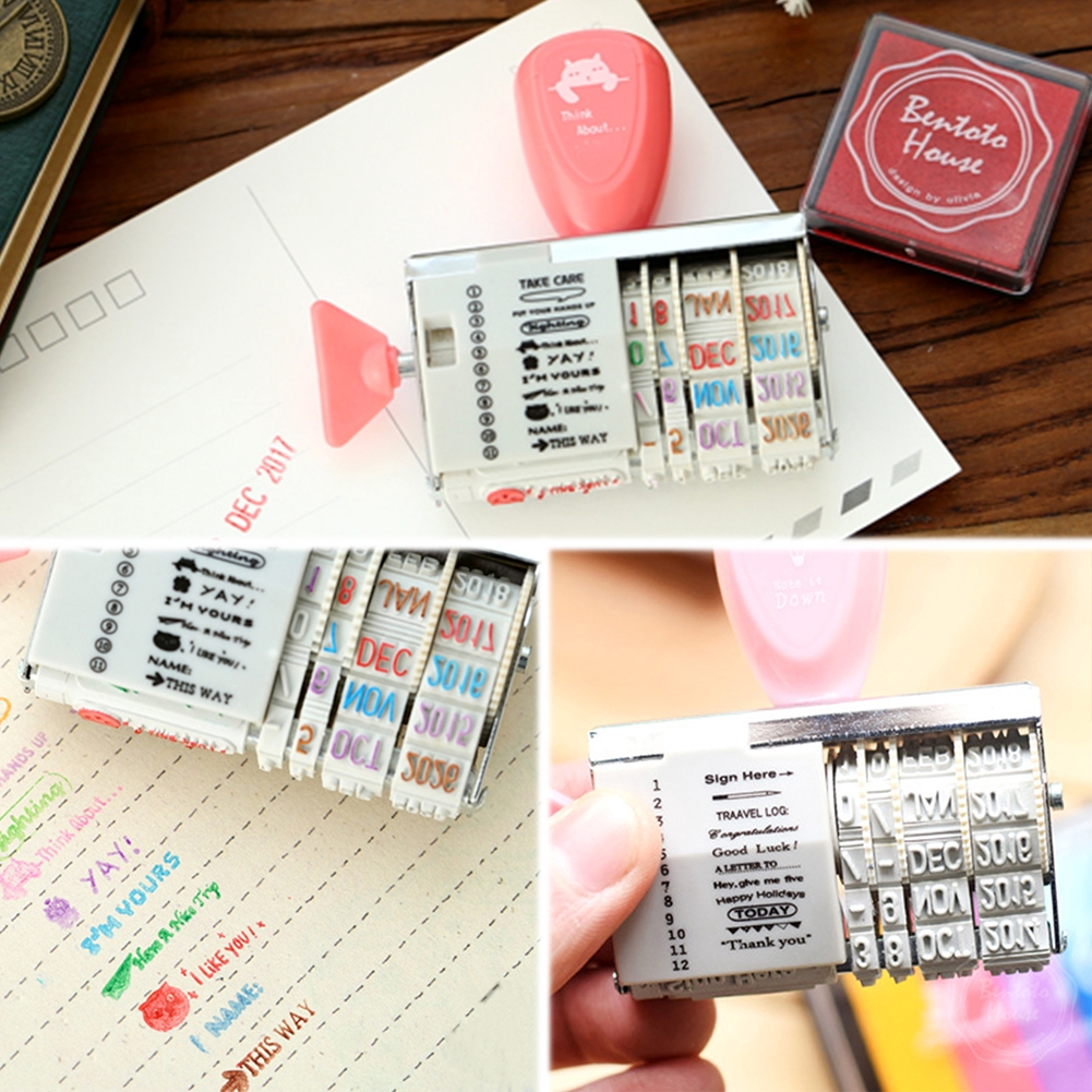 1PC Vintage Retro Plastic Metal Words+Date Stamps Wheel Rubber Stationery 2019