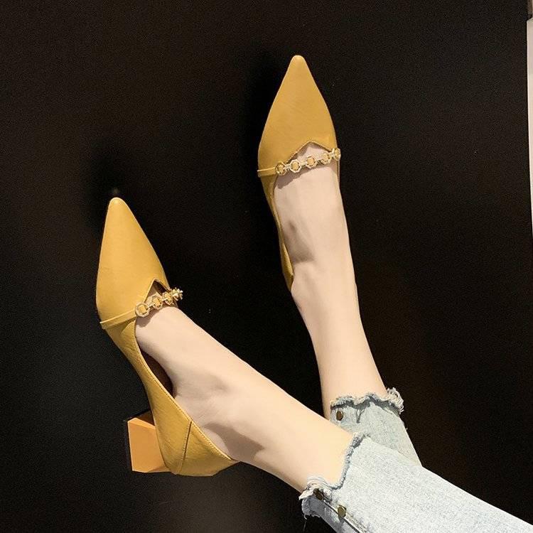 รองเท้าส้นสูงไซส์ใหญ่!รองเท้าคัชชู!รองเท้าส้นสูงมือสอง! 网红尖头女鞋春秋单鞋女2020春款新款韩版中跟รองเท้าส้นสูงผู้หญิงส้นหนา