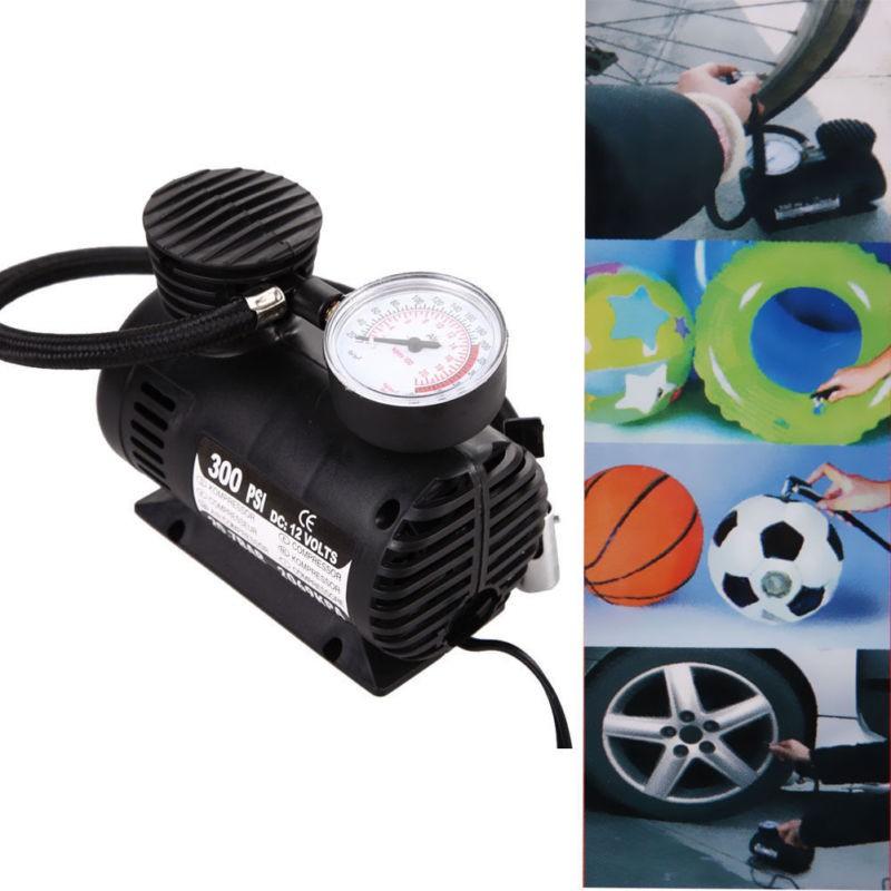 12V Car Electric Mini Compact Compressor Pump Bike Tyre Air Inflator 300Psi New