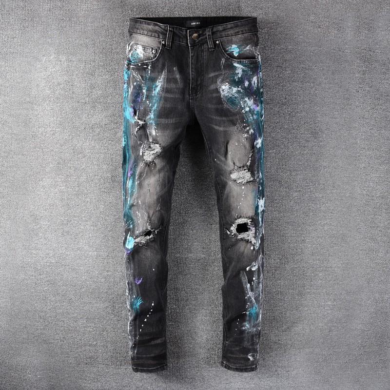 มีความยืดหยุ่นAMIRI Amiriบางกางเกงกางเกงยีนส์โคบาลรูสีหัตถกรรม amiri jeans