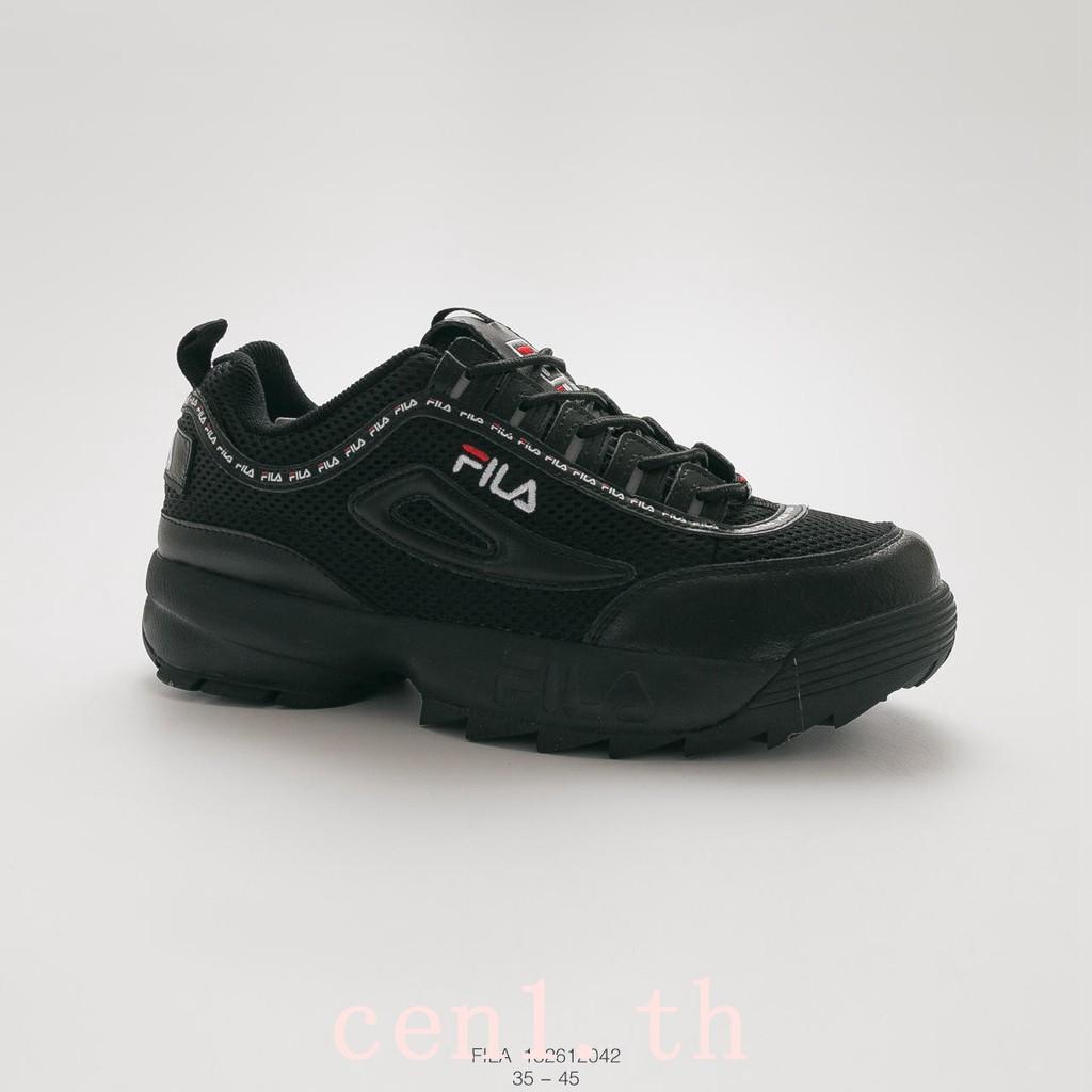 Fila รองเท้าผ้าใบรองเท้าวิ่งสีดำสำหรับผู้ชาย