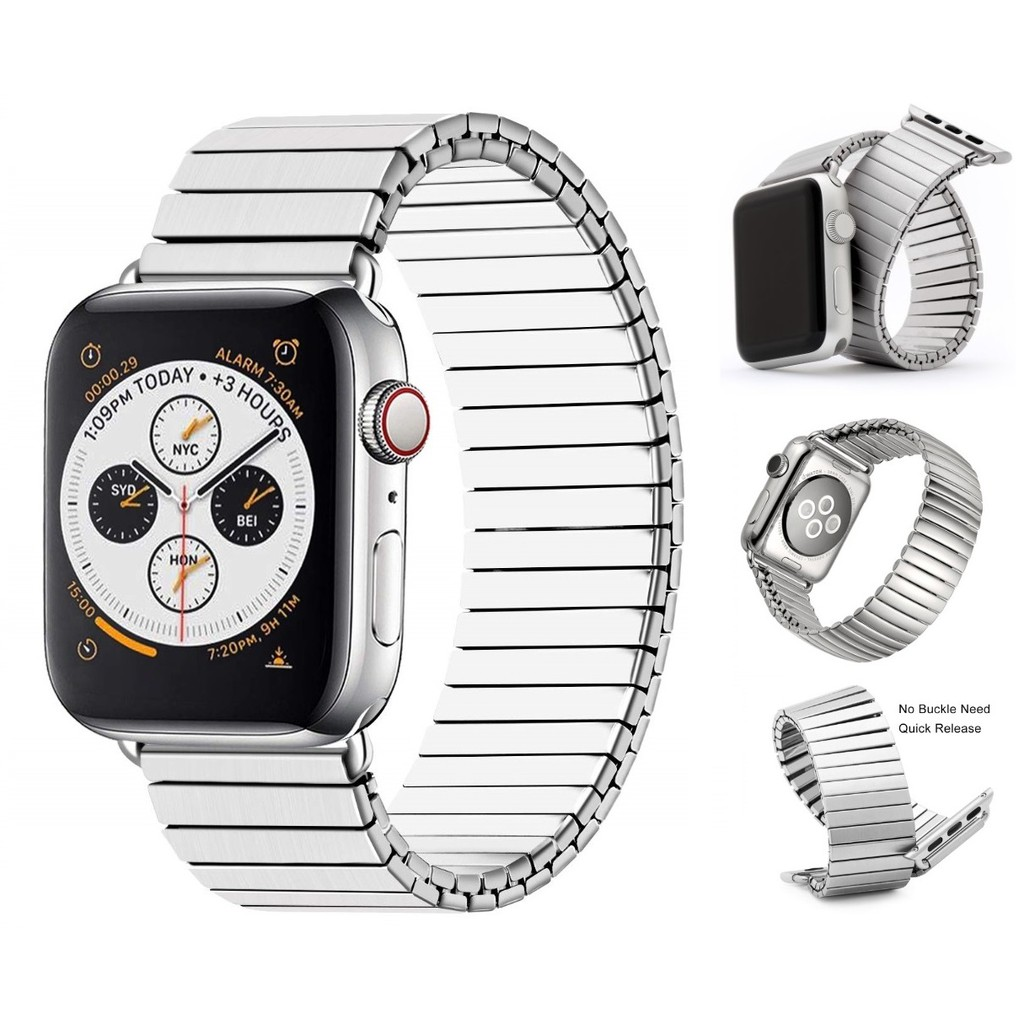 Apple Watch Strap iWatch Stainless Steel band Apple Watch series 6 5 4 3 2 1, Apple Watch SE Elastic Metal apple watch 6 strap Watchband