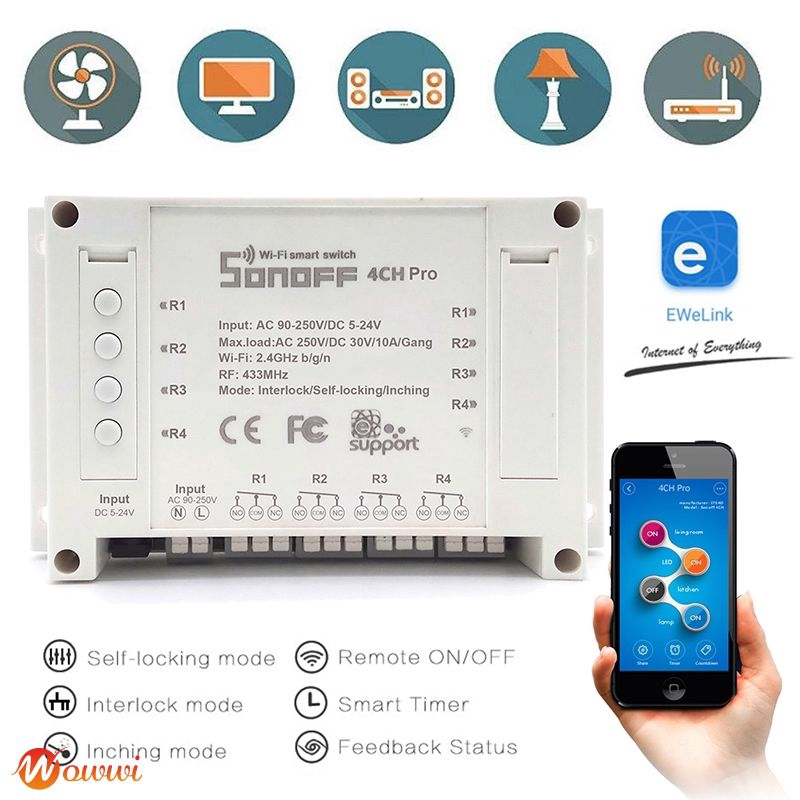 Conoff 4 Channel WIFI Smart Timer Switch