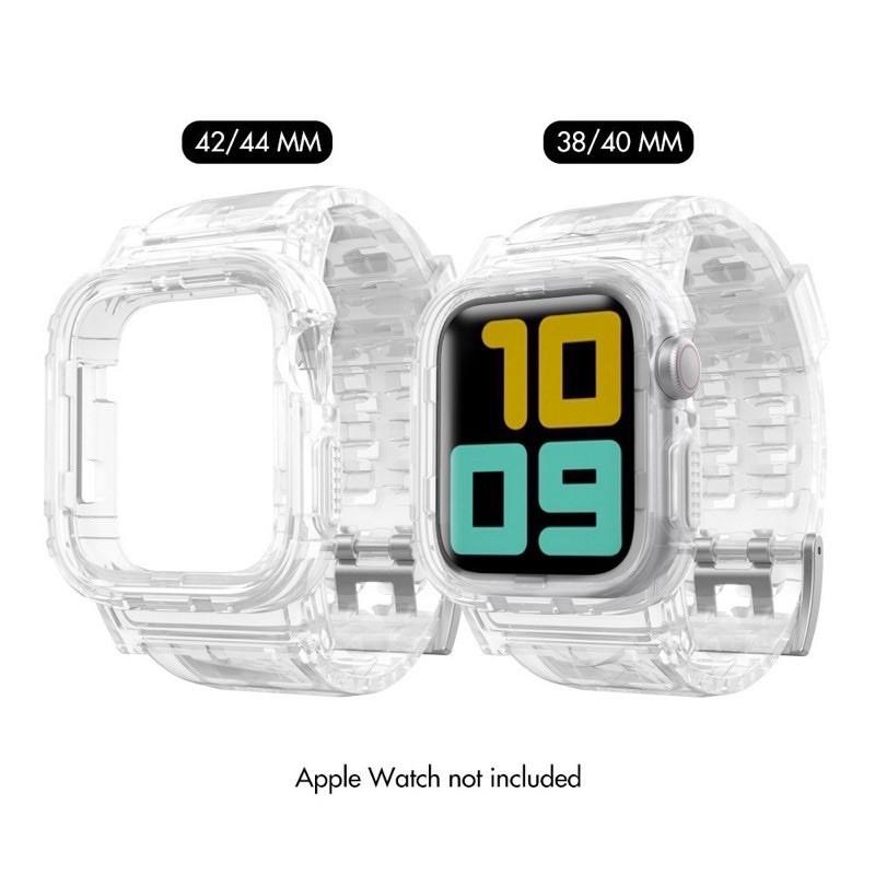 สาย applewatch แท้ สาย applewatch สายsnow iceเคสพร้อมสายแบบใสมี2สีแบบชาโคลใส กับสีใสมีทั้ง2ขนาด38-40/42-44mm icnH
