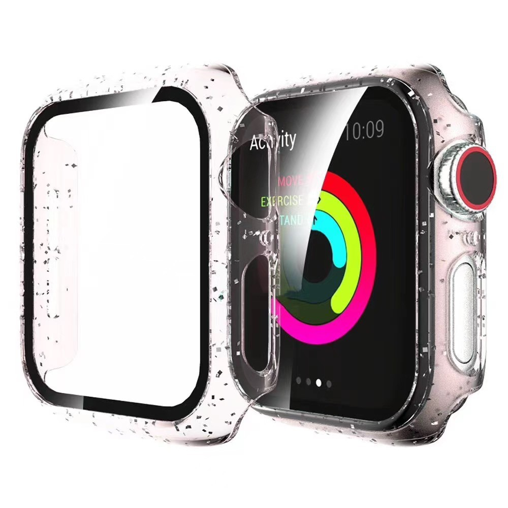 Hard Case for Apple Watch SE 6/5/4/3/2/1 Screen Protector PC cover Slim Tempered Glass Shinning shell for iWatch 38mm 40mm 42mm 44mm