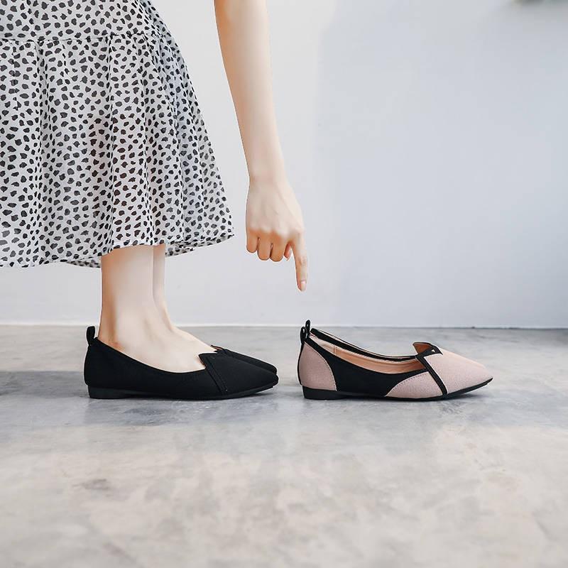 ร้องเท้า รองเท้าคัชชู รองเท้าผู้หญิง ♨แหลมรองเท้าแบนสาวรองเท้าเด็กนักเรียนหลายร้อยคนรองเท้าเดียวผู้หญิงฤดูใบไม้ผลิและฤดู