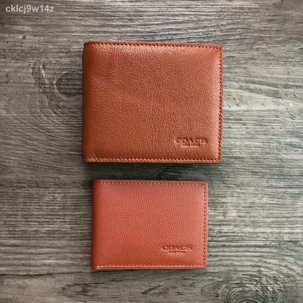 ✶♤COACH Compact ID Wallet in Sport Calf Leather กระเป๋าสตางค์ใบสั้น (งานแบรนด์แท้)