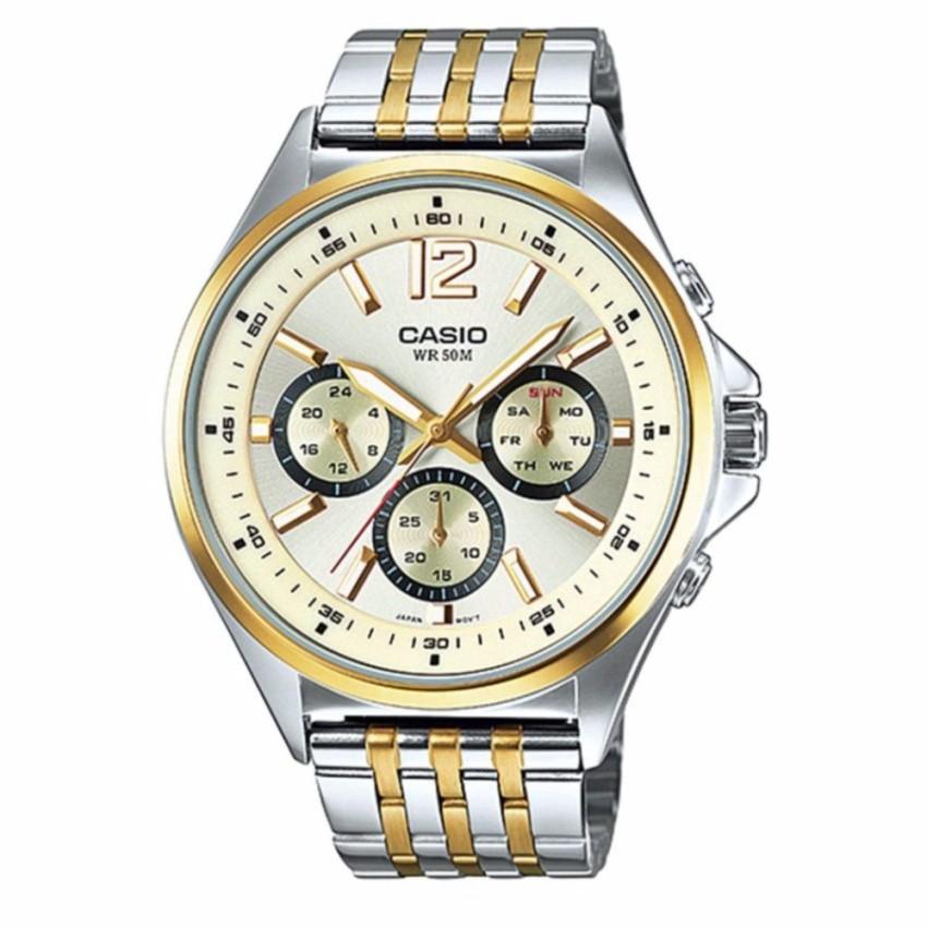 Casio นาฬิกาข้อมือผู้ชาย สายสแตนเลส สองกษัตรย์ รุ่นMTP-E303SG-9AVDF - สีทอง