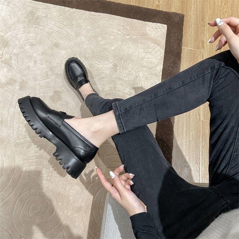 รองเท้าคัชชู รองเท้าผู้หญิง ❀หนังรองเท้าเดียวรองเท้าหนังขนาดเล็กหญิงอังกฤษลมหนึ่งเท้าขี้เกียจ JK Lefu รองเท้าสีดำ 2021 ฤ
