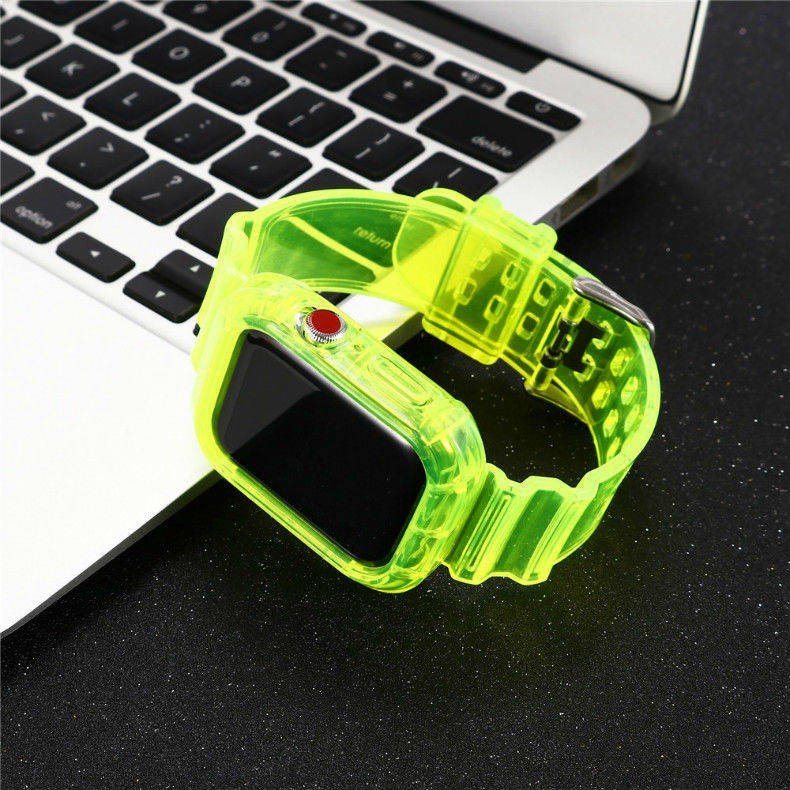 💥 สาย applewatch 🔥 เหมาะสำหรับสายนาฬิกา Apple Applewatch6se543 / 2/1 สายรัดแบบใสชิ้นเดียวป้องกันธารน้ำแข็งแบบบูรณาการ