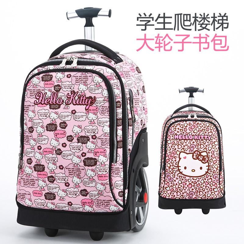 ✖Hello Kitty รถเข็นเด็ก Hello Kitty กระเป๋านักเรียนประถมโรงเรียนกระเป๋ารถเข็นน่ารักเด็กผู้หญิงมัธยมต้น กระเป๋าเดินทางนัก