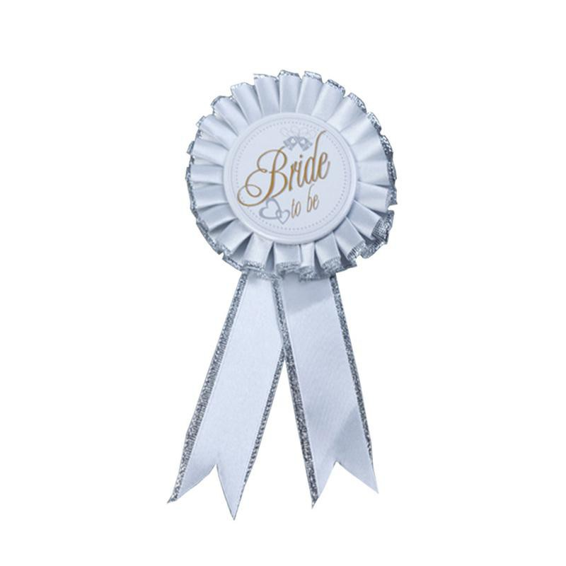 Bridal Shower Stag Hen Night Party White Badge Rosette