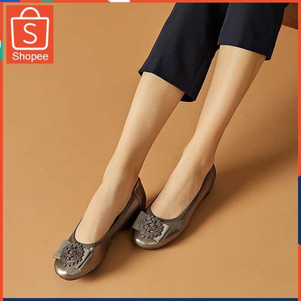รองเท้าคัชชู ใส่สบาย สำหรับผู้หญิง รุ่นสีเรียบใส่ทำงาน DG หนังตื้นปากรองเท้าเดียวหญิงแบน 2021 ใหม่ฤดูใบไม้ผลิและฤดูร้อนส
