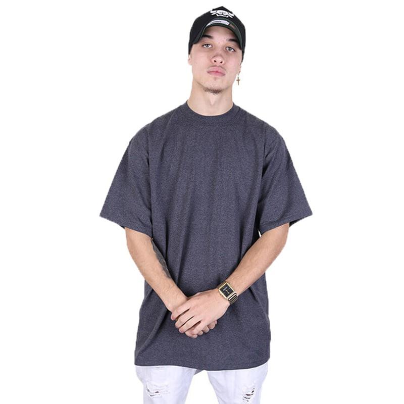 ₪✻American PROCLUB hip-hop ฮิปฮอปขนาดใหญ่หลวม เสื้อยืดคอกลมสีทึบ BBOY สำหรับผู้ชายและผู้หญิงเทรนด์