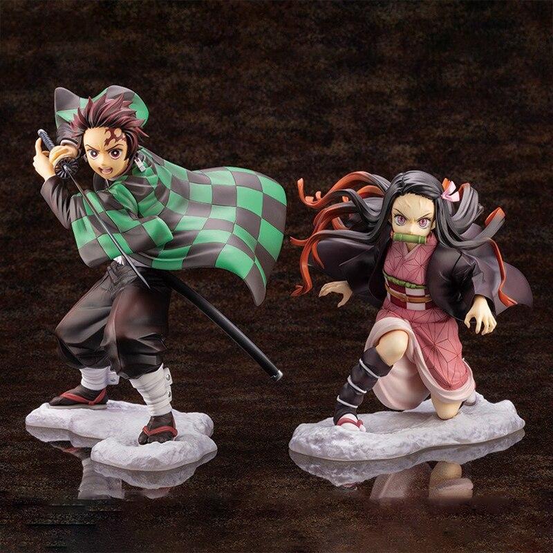 Demon Slayer Anime Figure Kamado Tanjirou Nezuko Kimetsu no Yaiba PVC Action Figure Collectible Model Toys Face Changing