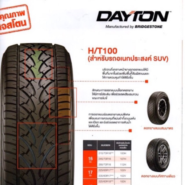 265/70R16 Dayton HT100 จำนวน 4 เส้น ผลิตและรับประกันโดยบริษัท บริดจสโตนเซลส์ (ประเทศไทย) จำกัด