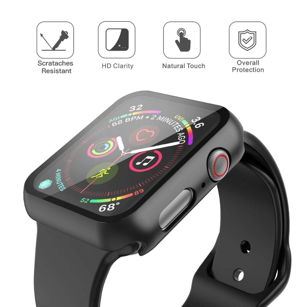 Watch case+Tempered Glass For Apple Watch 5 3 4 band iWatch 5 4 3 42mm 38mm protector case cover bumper applewatch 44mm