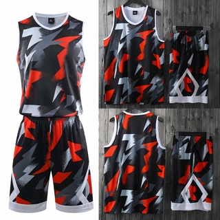 Men's Basketball Jersey Set Camouflage Print Basketball Shirt & Shorts Youth Sportswear Throwback Jerseys Suit Training