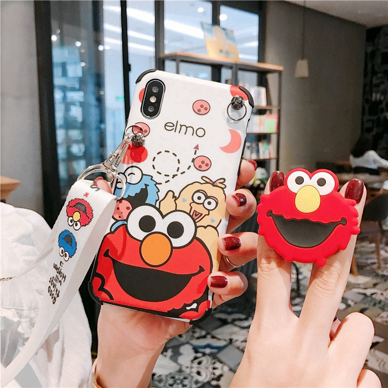 Sesame Street Case iPhone X XS Max XR Stand Holder Cover iPhone 6 6S 7 8 Plus With La