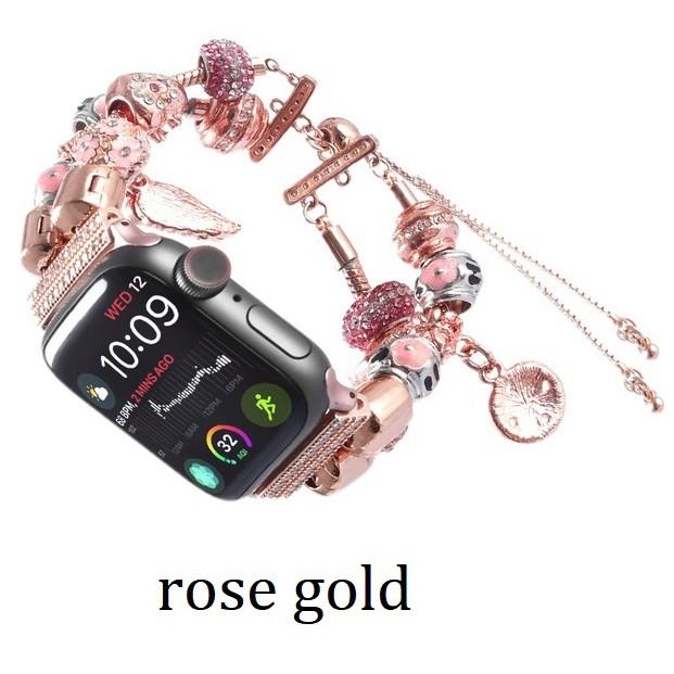 ฟุ่มเฟือย เพชรพลอย สายนาฬิกา Apple Watch Straps เหล็กกล้าไร้สนิม Luxury Jewellery สาย Applewatch Series 6 5 4 3 Stainles