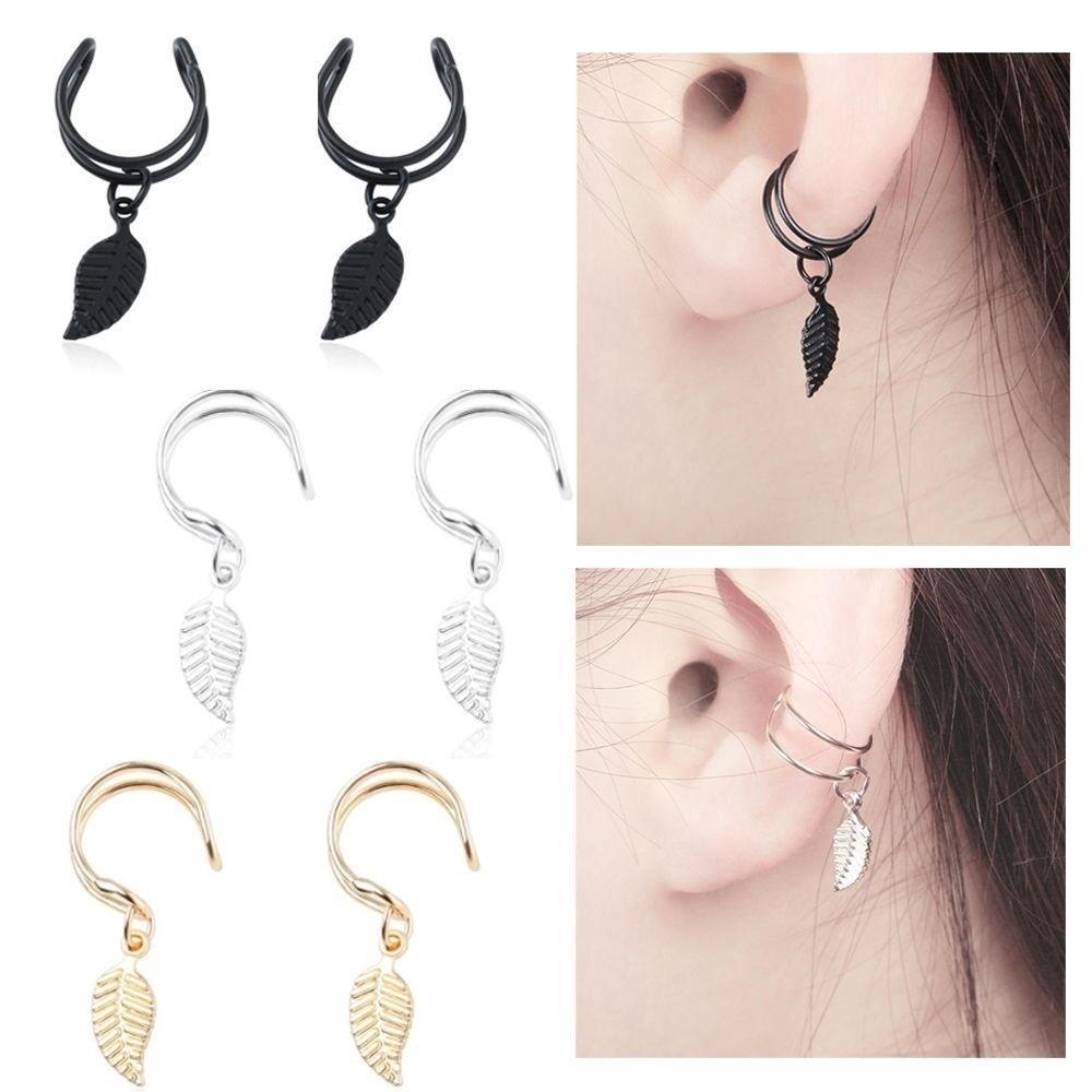 2X Lady Silver Ear Cuff Crystal Rhinestone Wrap Cartilage Clip On Stud Earring M