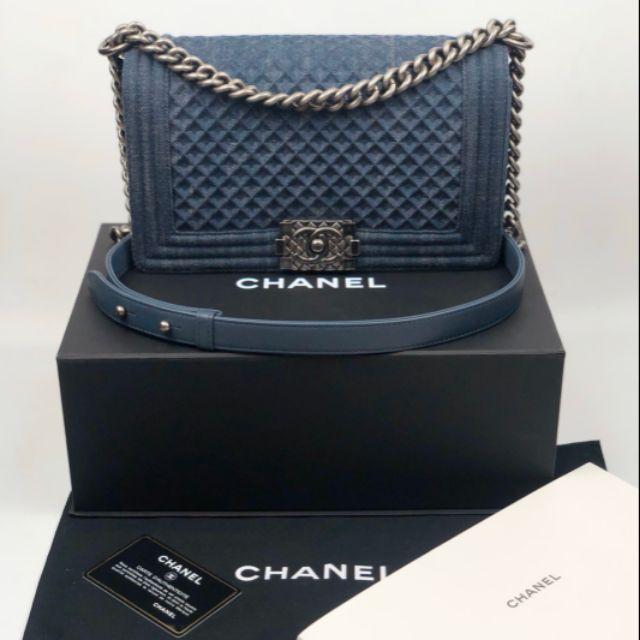 "Like New Chanel Boy Denim 10"" Limited Holo23xxx"