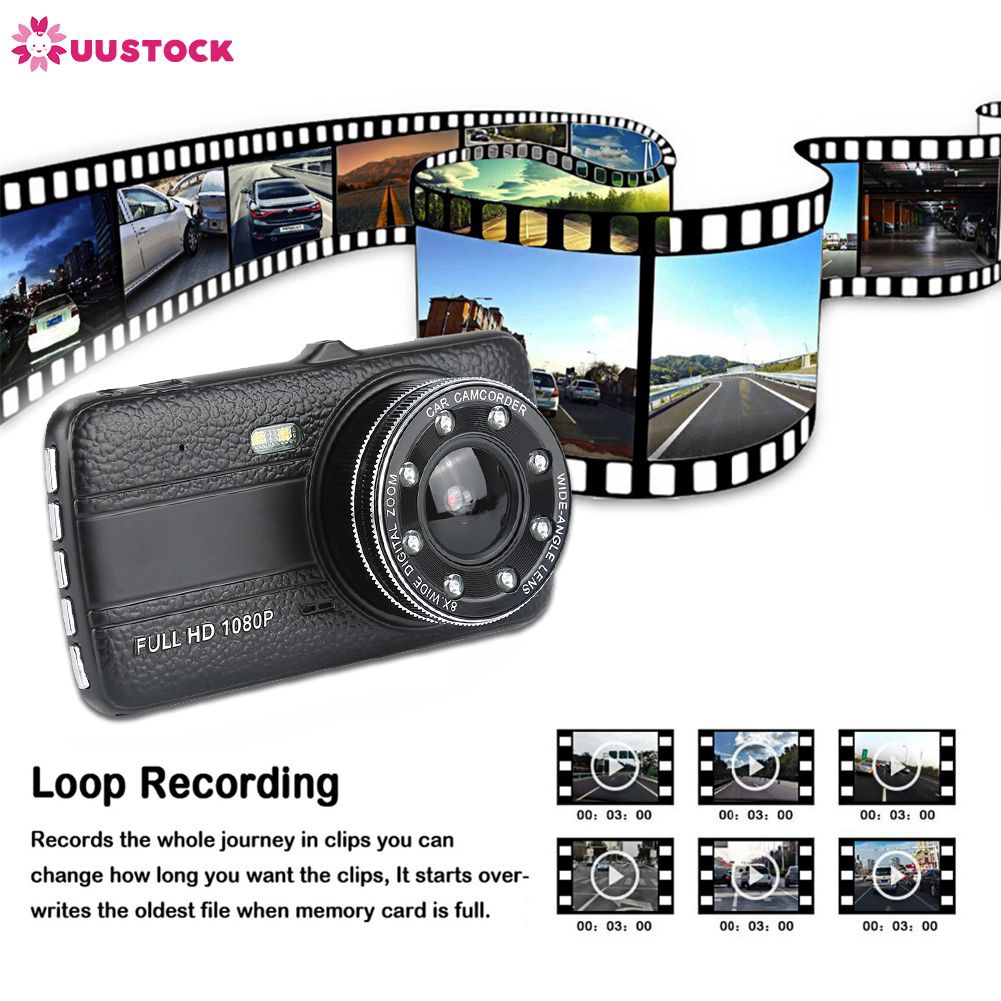 ❤ Hot HD LCD Display Ultra Wide Angle Front Rear Camera dual recording  Driving recorder uustock