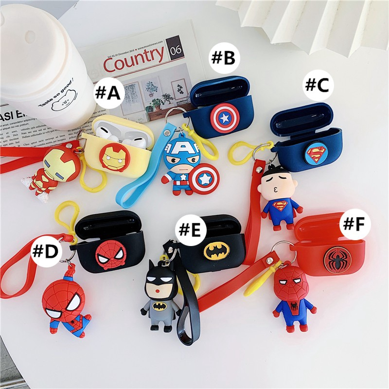 Apple AirPods Pro Case airpods3 Covers Soft Case airpodspro airpods 3 2 Silicone casing cover keychain iron Man