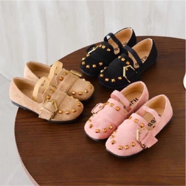 รองเท้าคัชชูเด็ก ปักหมุดทอง สีน้ำตาล , ชมพู , ดำ