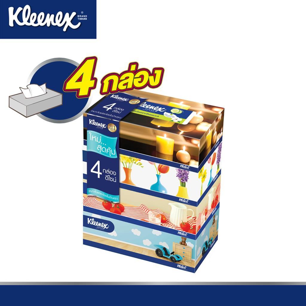 ✔Kleenex กระดาษทิชชู่เช็ดหน้า รูมดีไซน์ แบบกล่อง 110 แผ่น รวม 4 กล่อง