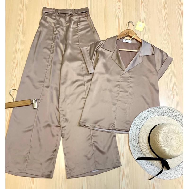พร้อมส่ง 4 สี‼️อ่านก่อนสั่ง เซทเสื้อกางเกง เสื้อแขนสั้น เซทผ้าซาติน ชุดผ้าซาติน เสื้อเชิ้ตแขนสั้น เชิ้ตซาติน กางเกงซาติน