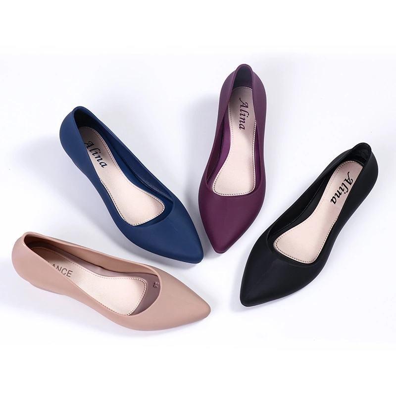☍ใหม่ล่าสุด!!รองเท้าคัชชูหัวแหลม รองเท้ายางส้นสูง ยางนิ่ม คัชชูเจลลี่ (มี4สี สินค้าพร้อมส่ง)