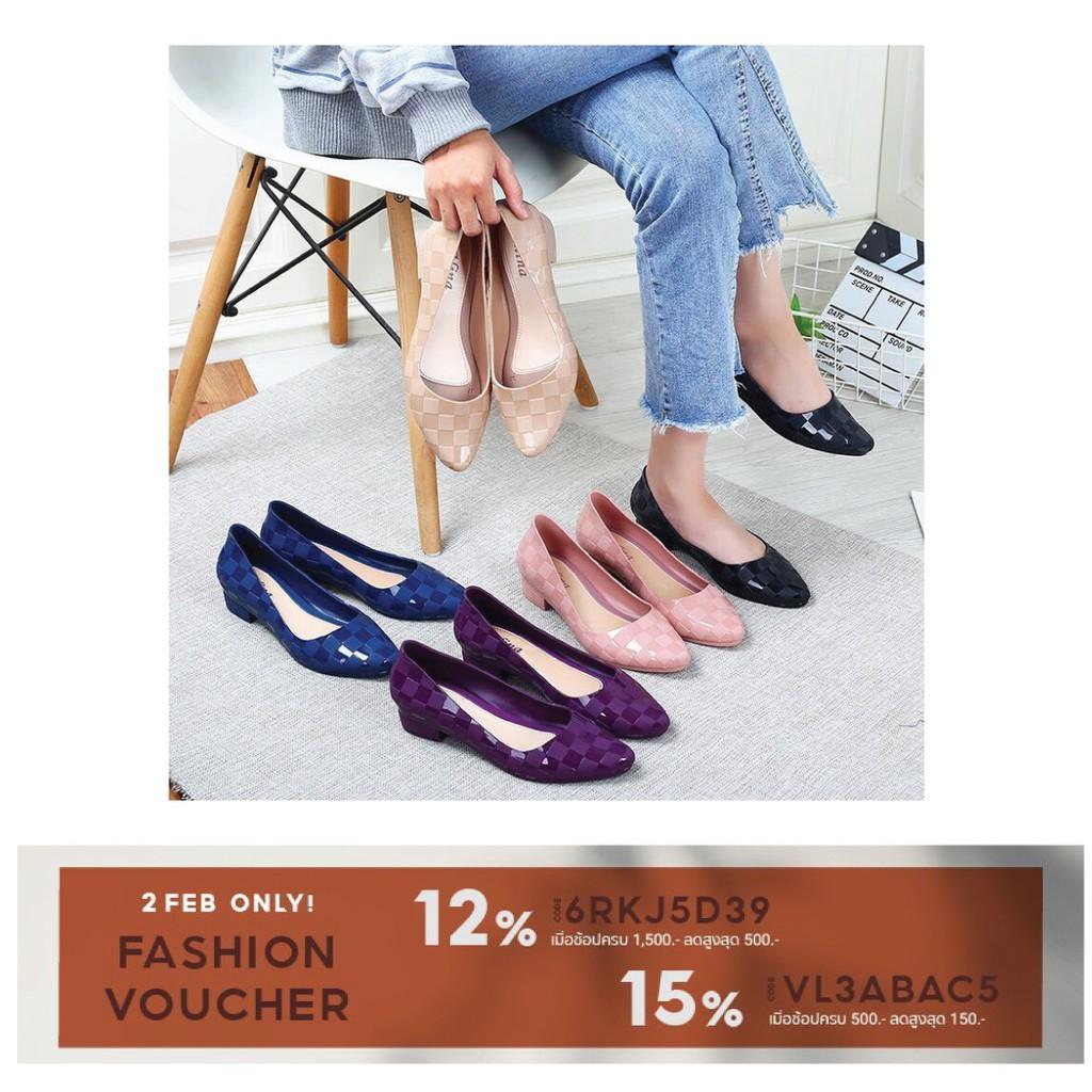 Sale‼️ 🔥New Fshion รองเท้าคัชชูหัวแหลม รองเท้ายางนิ่ม รองเท้ารัดส้น ส้นเตารีด สีพื้น พื้นนิ่ม ใส่สบาย 8307