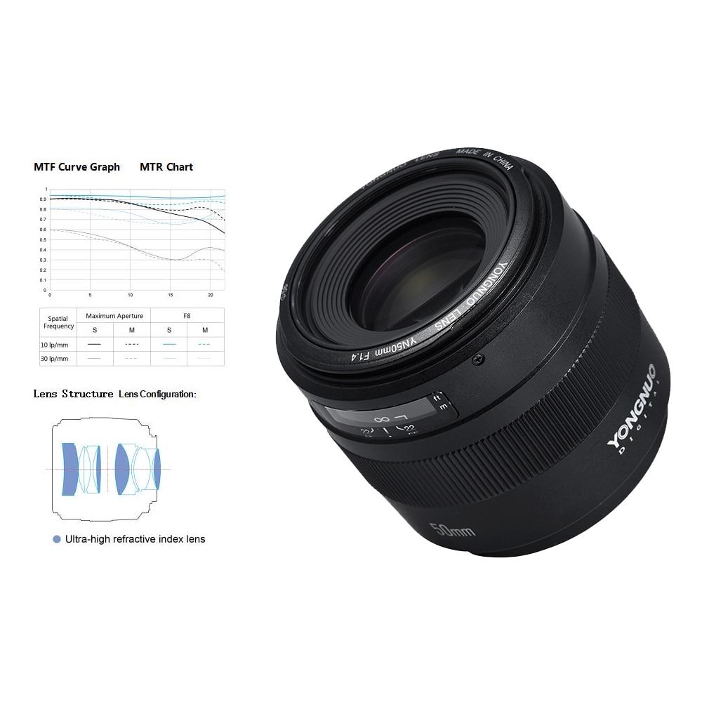 yongnuo yn 50 mm f 1 . 4 เลนส์โฟกัสขนาดใหญ่สําหรับ canon eos 70 d 5 d 2 dslr 5d
