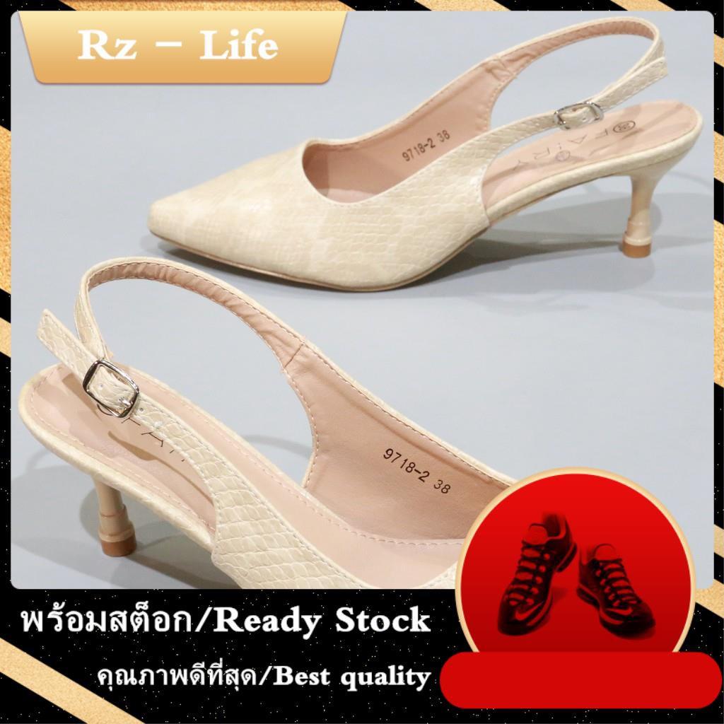 """รองเท้าส้นสูงสีขาว 9718-2 คัชชูรัดส้นสูง 2.5""""   รองเท้าคัชชูหัวแหลม หนังนิ่ม รองเท้าส้นสูง แฟชั่น FAIRY"""