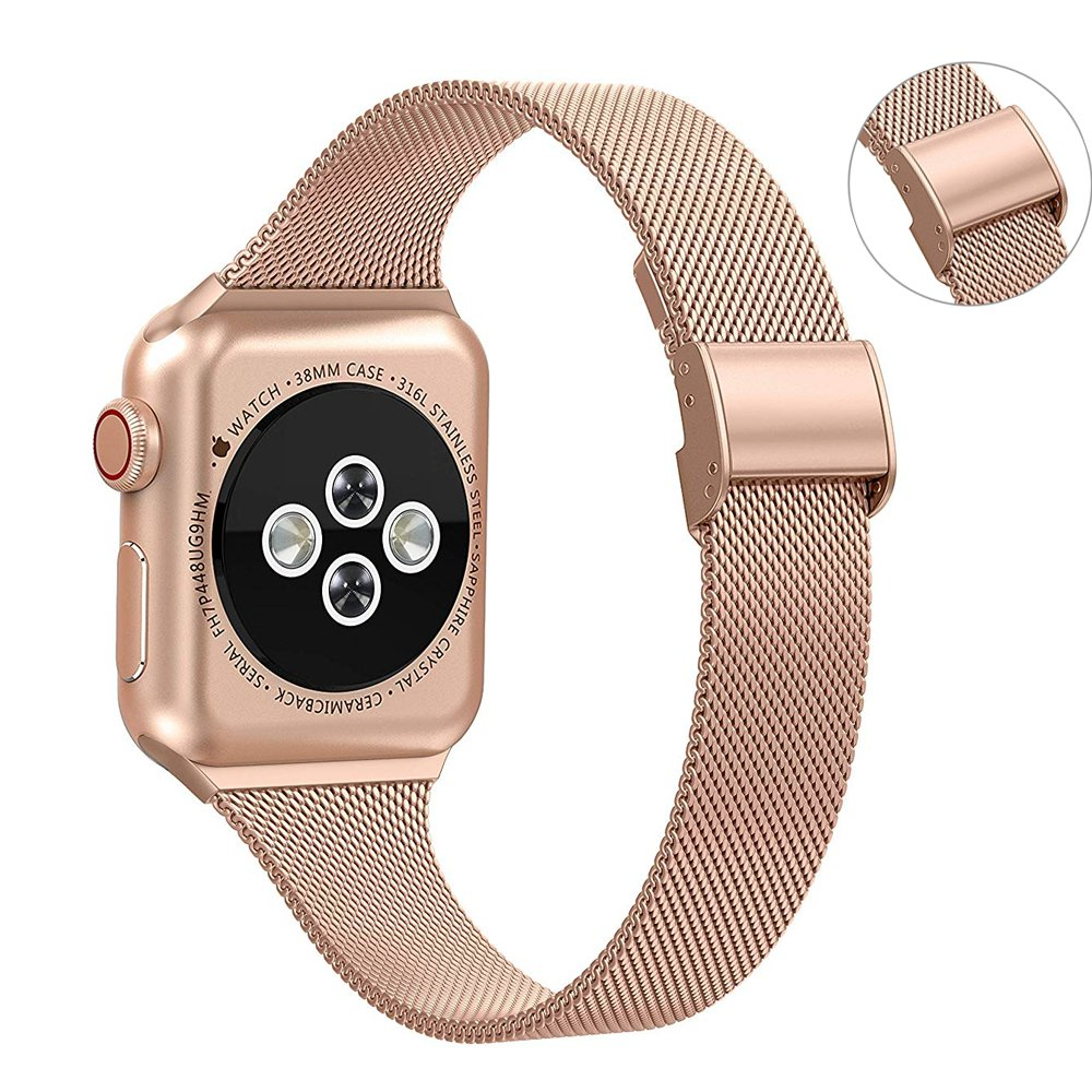 Silm strap For Apple Watch band 40mm 4mm 38mm 42mm bracelet watchband iWatch band Milanese loop Apple watch series 5 4 3