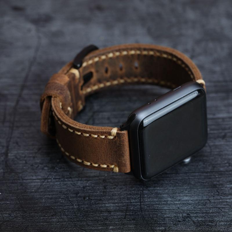 Italian นาฬิกาข้อมือสายหนังสไตล์วินเทจ Iwatch Applewatch Apple Series6/54
