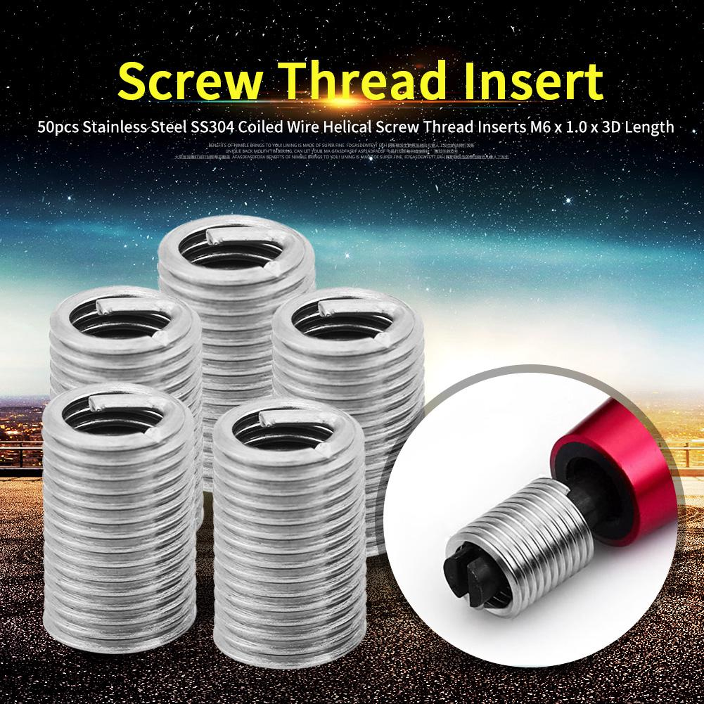 50pcs Coiled Wire Insert Set 8-32UNC x 1.5D Imperial Stainless Steel Helical Screw Thread Inserts Kit
