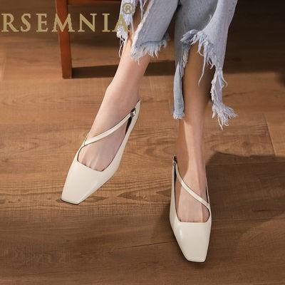 Rsemnia สไตล์เกาหลีหัวเหลี่ยมส้นหนาสายรัดเดียวรองเท้าคัชชู2021ฤดูใบไม้ผลิรุ่นใหม่ใส่สบาย