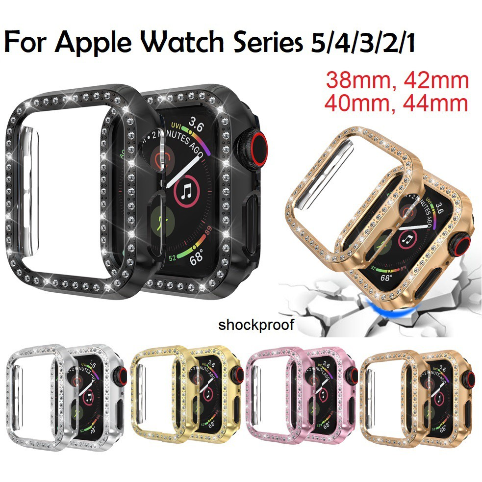 Ready!! Luxury เคส Apple Watch case 38mm/40mm/42mm /44mm Diamonds Replacing iWatch Case Series 6/5/4/3/2/1, Apple Watch SE PC Bing Cover
