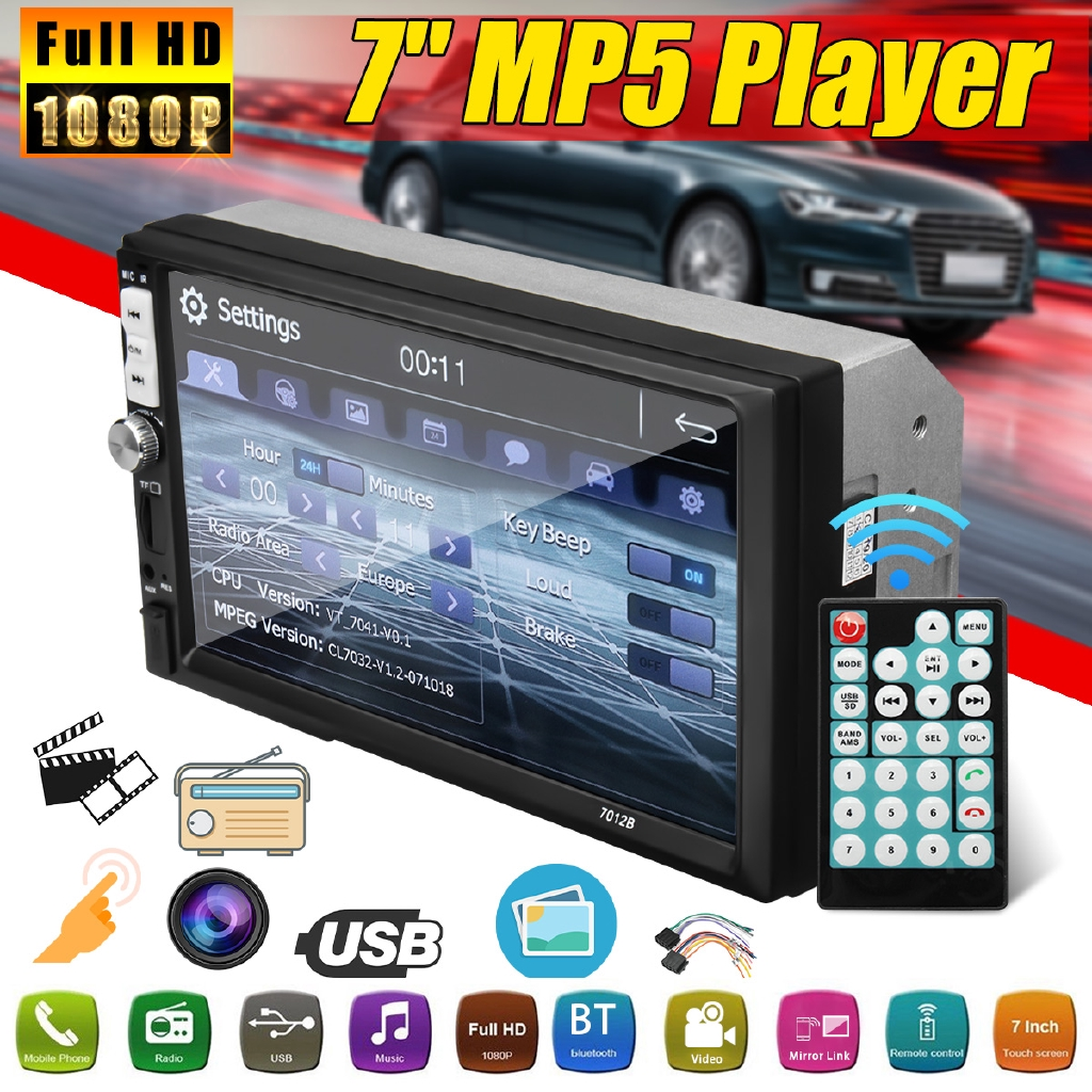 7'' INCH 2 DIN MP5 Player Touchable Screen Car Radio Stereo Player  bluetooth FM