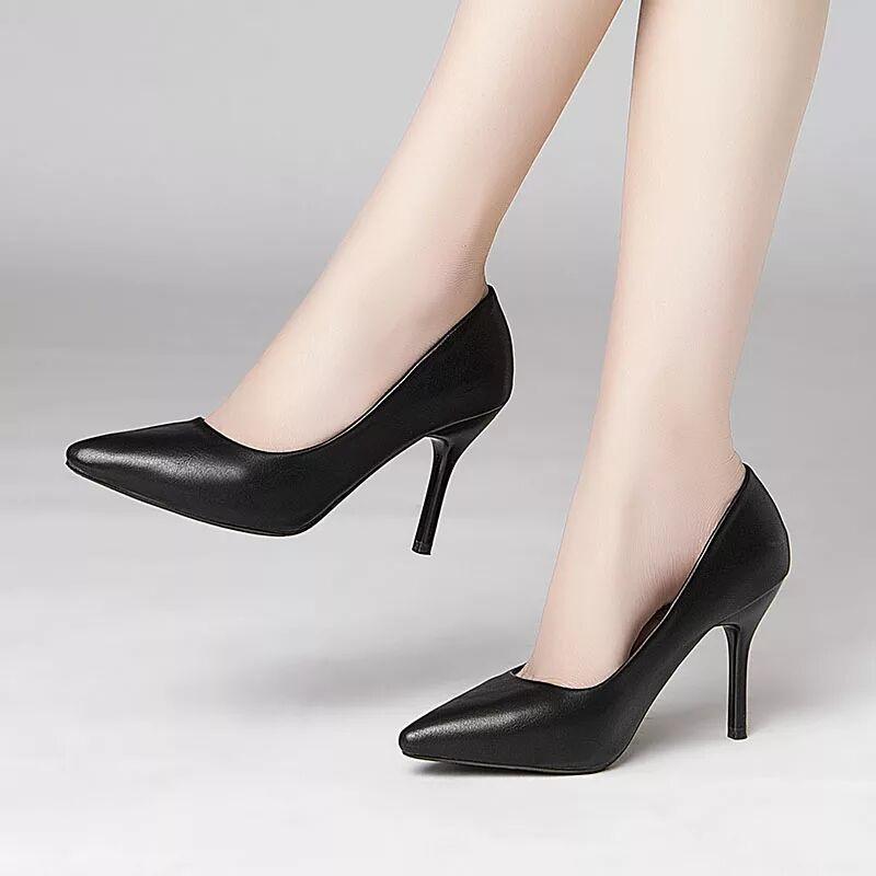 รองเท้าคัชชูหัวแหลมส้นสูงYun Ying เบลล์รองเท้าเดียวหนังผู้หญิงรองเท้าทำงานรองเท้าส้นสูงสีดำกริชมืออาชีพสัมภาษณ์งานรองเท้