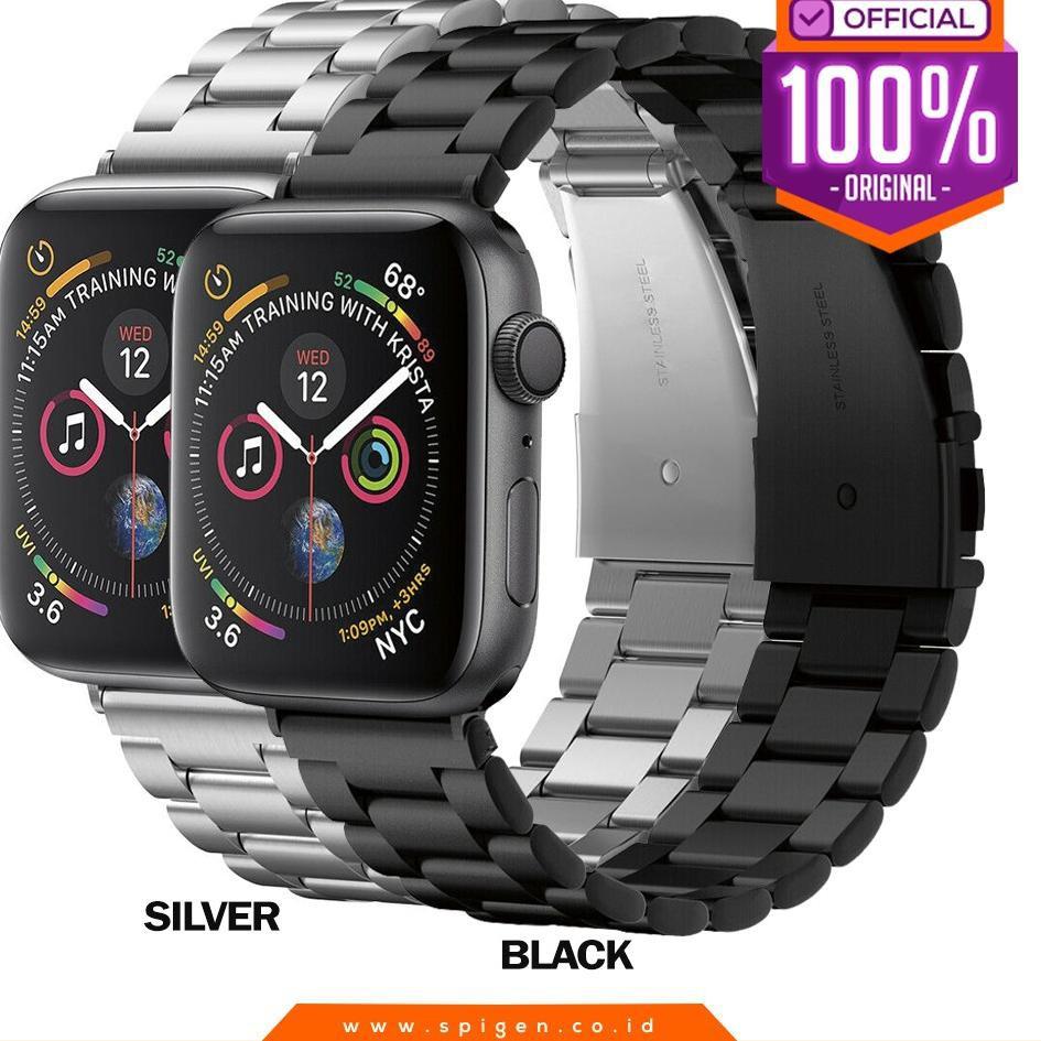 สายนาฬิกาข้อมือสแตนเลสสําหรับ Apple Watch 44mm / 42mm Series 5 4 3 2 1 Spigen Band